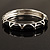 Black Enamel &#039;Criss Cross&#039; Hinged Bangle Bracelet (Silver Tone Metal) - view 8