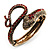 Vintage Diamante Snake Bangle Bracelet (Burn Gold Tone)