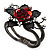 Chic Red Resin Diamante Rose Hinged Bangle Bracelet (Gun Meal Finish) - view 8
