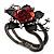 Chic Red Resin Diamante Rose Hinged Bangle Bracelet (Gun Meal Finish) - view 8