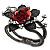 Chic Red Resin Diamante Rose Hinged Bangle Bracelet (Gun Meal Finish)