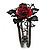 Chic Red Resin Diamante Rose Hinged Bangle Bracelet (Gun Meal Finish) - view 9