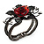 Chic Red Resin Diamante Rose Hinged Bangle Bracelet (Gun Meal Finish) - view 10