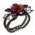 Chic Red Resin Diamante Rose Hinged Bangle Bracelet (Gun Meal Finish) - view 10