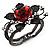 Chic Red Resin Diamante Rose Hinged Bangle Bracelet (Gun Meal Finish) - view 3