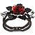 Chic Red Resin Diamante Rose Hinged Bangle Bracelet (Gun Meal Finish) - view 11