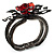 Chic Red Resin Diamante Rose Hinged Bangle Bracelet (Gun Meal Finish) - view 6