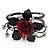 Chic Red Resin Diamante Rose Hinged Bangle Bracelet (Gun Meal Finish) - view 7