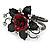 Chic Red Resin Diamante Rose Hinged Bangle Bracelet (Gun Meal Finish) - view 12