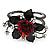 Chic Red Resin Diamante Rose Hinged Bangle Bracelet (Gun Meal Finish) - view 13