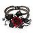 Chic Red Resin Diamante Rose Hinged Bangle Bracelet (Gun Meal Finish) - view 14
