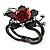 Chic Red Resin Diamante Rose Hinged Bangle Bracelet (Gun Meal Finish) - view 15