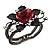 Chic Red Resin Diamante Rose Hinged Bangle Bracelet (Gun Meal Finish) - view 16