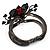 Chic Red Resin Diamante Rose Hinged Bangle Bracelet (Gun Meal Finish) - view 2