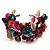 Multicoloured Floral Shell & Simulated Pearl Cuff Bracelet (Silver Tone) - view 10