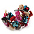 Multicoloured Floral Shell & Simulated Pearl Cuff Bracelet (Silver Tone) - view 9