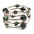 Silver-Tone Beaded Multistrand Flex Bracelet (Forest green)