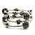 Silver-Tone Beaded Multistrand Flex Bracelet (Forest green) - view 3
