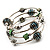 Silver-Tone Beaded Multistrand Flex Bracelet (Forest green) - view 7