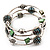 Silver-Tone Beaded Multistrand Flex Bracelet (Forest green) - view 8