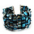Teal Blue Shell Flex Cuff Bangle