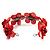 Coral Red Floral Shell Flex Cuff Bracelet - view 3