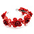 Coral Red Floral Shell Flex Cuff Bracelet - view 8