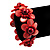Coral Red Floral Shell Flex Cuff Bracelet - view 2