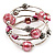 Silver-Tone Beaded Multistrand Flex Bracelet (Light Pink) - view 1