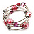 Silver-Tone Beaded Multistrand Flex Bracelet (Light Pink) - view 6