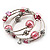 Silver-Tone Beaded Multistrand Flex Bracelet (Light Pink) - view 7