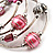 Silver-Tone Beaded Multistrand Flex Bracelet (Light Pink) - view 4