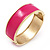 Fuchsia Enamel Magnetic Bangle Bracelet In Gold Plated Metal - 18cm Length