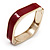 Dark Red Enamel Square Hinged Bangle Bracelet In Gold Plated Metal - 18cm Length