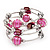 Silver-Tone Beaded Multistrand Flex Bracelet (Fuchsia Pink)