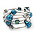 Silver-Tone Beaded Multistrand Flex Bracelet (Teal Blue)