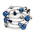 Silver-Tone Beaded Multistrand Flex Bracelet (Navy Blue)