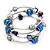 Silver-Tone Beaded Multistrand Flex Bracelet (Navy Blue) - view 6