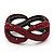 Burgundy Red Swarovski Crystal 'Figure Of Eight' Hinged Bangle Bracelet - 18cm Length - view 7