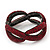 Burgundy Red Swarovski Crystal 'Figure Of Eight' Hinged Bangle Bracelet - 18cm Length - view 6