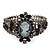 Victorian Style Cameo Black Diamante Bangle Bracelet (Gun Metal Finish) - view 1