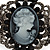 Victorian Style Cameo Black Diamante Bangle Bracelet (Gun Metal Finish) - view 2