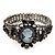 Victorian Style Cameo Black Diamante Bangle Bracelet (Gun Metal Finish) - view 6