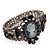 Victorian Style Cameo Black Diamante Bangle Bracelet (Gun Metal Finish) - view 5