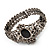 Victorian Style Cameo Black Diamante Bangle Bracelet (Gun Metal Finish) - view 3