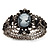 Victorian Style Cameo Black Diamante Bangle Bracelet (Gun Metal Finish) - view 7