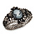 Victorian Style Cameo Black Diamante Bangle Bracelet (Gun Metal Finish) - view 8