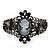 Victorian Style Cameo Black Diamante Bangle Bracelet (Gun Metal Finish) - view 9