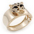 Statement Crystal 'Tiger' Hinged Bangle Bracelet In Gold Plating - 18cm Length