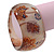 Chunky Beige/Brown 'Floral Pattern' Resin Bangle Bracelet - 20cm Length - view 3